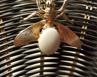 Vintage gold tone Beatle pin