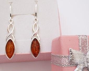 Infinity Amber Earrings, Amber Earrings, Natural Baltic Amber Earrings, Dark Cognac Amber Earrings, Baltic Amber Earrings With Certificate
