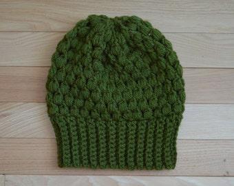 crochet puff stitch hat x PIN CURL BEANIE x in olive