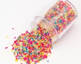 20g Chocolate Sprinkles - Rainbow Bright Kawaii Cute Fake Food Polymer Clay Cell Phone Deco