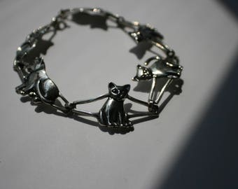 "Vintage Sterling Silver KABANA Kitty Cat Link Chain 7.75"" bracelet"