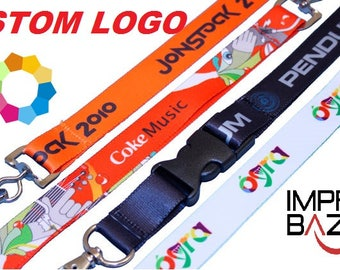 100 Pcs Personalized Lanyard Full Color Printed Lanyards with DYE Sublimation Print - with LOGO/TEXT Custom Lanyards