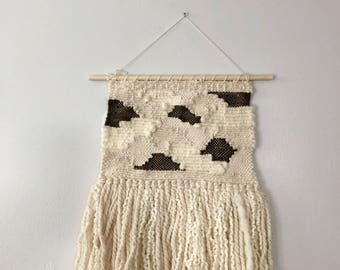 Woven Wall Hanging in Brown Patches