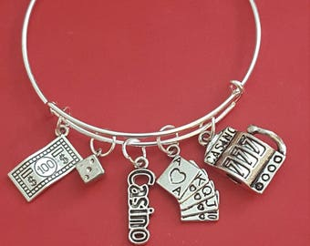 Silver Casino Themed Charm Bracelet