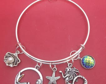 Silver Mermaid Themed Charm Bracelet