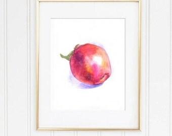 Apple Print, Apple Fruit Print, Red apple print, Fruit Kitchen print, Fruit Watercolor print, Apple Watercolor, kitchen print art