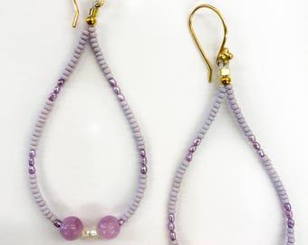 Purple and white pearl drop earrings