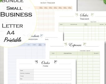 Small business planner: Order form, Sales tracker, Expenses, Inventory, Supplies Tracker, digital printable business, Letter size and A4.