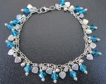 Silver Hearts and Swarovski Turquise/Blue Crystals Bracelet