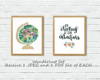 Set of 2|Wanderlust|Digital|Download|Instant 8X10|Printable|Travel|Explore|World|Map|Adventure Awaits|Globe|Earth|Darling|Boho|Floral|Girl