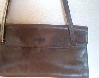 Louvier Paris Designer Brown Leather Shoulder Hand Bag Purse