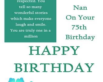 Great Nan 75 Birthday Card with removable laminate