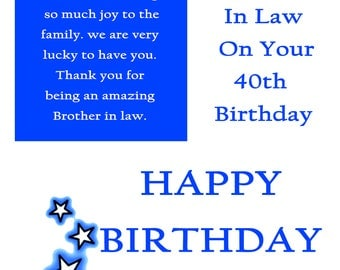 Brother in Law 40 Birthday Card with removable laminate