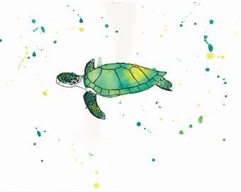 5 X 7 Sea Turtle Art Print | Wildlife Original Art | Kids Room Wall Decor | Nursery Decor | Baby Room Art | Rainbow Animal Art