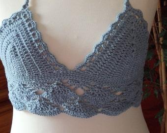 Blue grey cotton crochet lace top