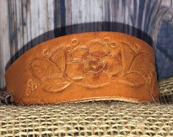Genuine Leather Floral Wrist Cuff