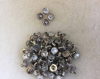 Rhinestone Rivets - Bag of 25. 8 mm long - 3 mm wide, clear rhinestones, craft supplies, jewels