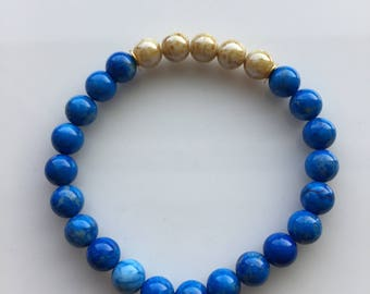 Royal Blue and Gold Bracelet