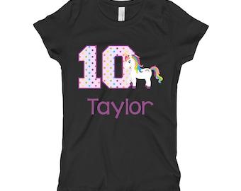 Unicorn Birthday Shirt- 10th Birthday Shirt - Tenth Birthday Shirt 10 - Unicorn Birthday Party - Girls Birthday Shirt - Purple Black Shirt