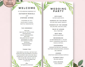 Greenery Wedding Program Template Download, Printable Editable Watercolor Wedding Program, A4 & US Letter Wedding Program, Instant Download.