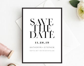 Save The Date Printable Template, Printable Editable Save The Date Card, Minimalist Save The Date Printable PDF Template Instant Download
