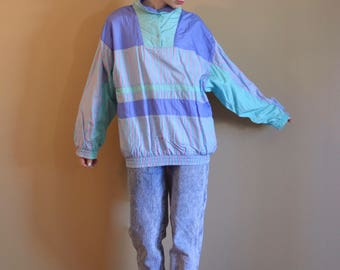 Vintage Pastel Colorblock Windbreaker 80s 90s Fashion Mint Popover Spring Jacket Womens Vintage Clothing One Size
