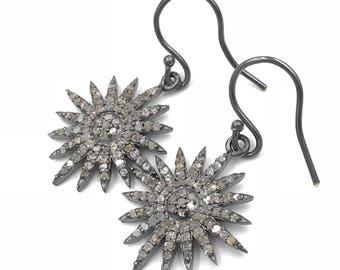 Pave diamond sterling silver star earrings
