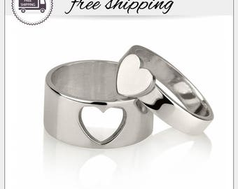 His and Hers Heart Matching Rings • Couple Ring Set • His and Her Promise Rings • Rings For Couples • Boyfriend Girlfriend rings • SR1074