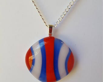 Red, White and Blue striped pendant