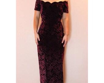 VINTAGE 1980's Purple Velvet Off the Shoulder Gown