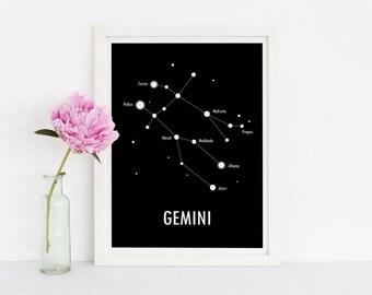 Gemini Poster / Constellation Poster / Star Sign / Zodiac Sign / Scandinavian Art / Modern Poster