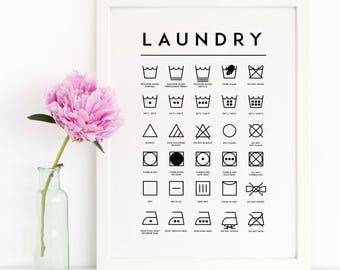 Laundry Room Decor / Bathroom Print / Laundry Symbols / Affiche Scandinave / Minimalist print / Laundry Guide / Printable Art
