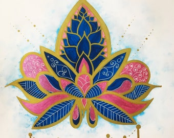 Gold Mandala/Buddhist/Symbol/Watercolour/Art/Original/Gift/Home