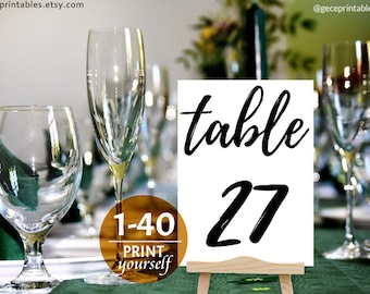 Black Table Numbers 1-40 Printable: Wedding Table Numbers, 4x6, 5x7, Kraft, PDF Instant Download, Table Cards Signs, Rustic Table Numbers