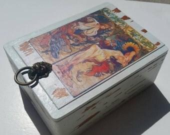 Mucha Inspired Altered Cigar Box