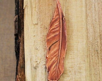 Electroformed Real Feather Copper Necklace