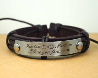 Mens Personalized Leather Bracelet, Custom Bracelet Personalized Men's Leather Bracelet, Engraved Leather Bracelet, Name Bracelet Men