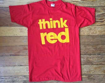 Vintage 1980's Think Red T Shirt 80's