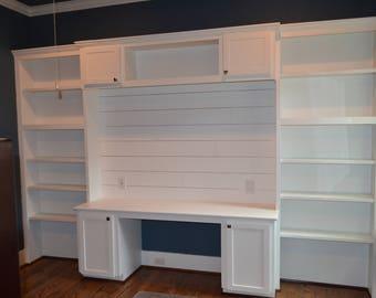 Custom Built-in Office Bookcase/Desk