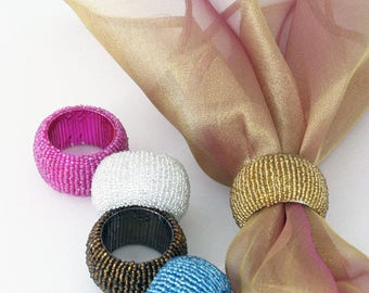 Beaded Napkin rings set of 6