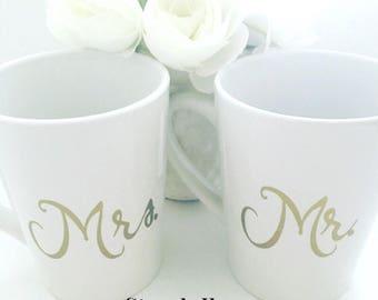 Bride and Groom Mug set, Mr and Mrs Mugs, best day ever, personalized mugs, wedding mugs, wedding gift set