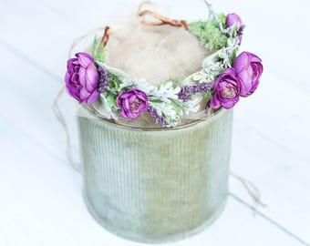 newborn flower crown/ baby flower crown/ newborn crown/ newborn photo prop/ baby photo prop/ purple flower crown