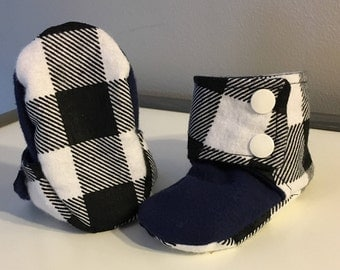Fabric Baby Booties - Crib Shoes