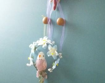 Knitted Budgie on a hoop