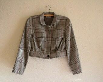 1980s does 1940s Armani plaid jacket, designer flannel cropped army jacket, Medium
