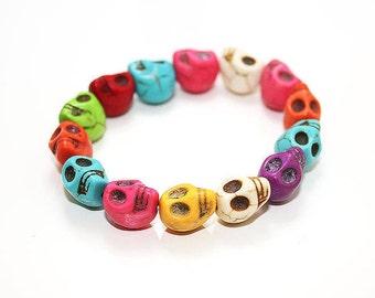 Multi-colour skull charm bracelet