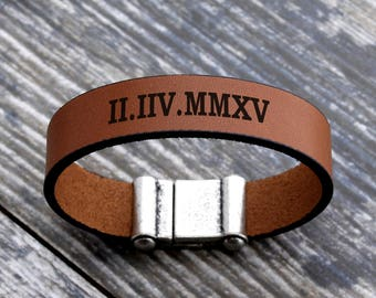 Personalized engraved bracelet, personalized leather bracelet, personalized mens bracelet, roman numeral engraved bracelet, custom bracelet