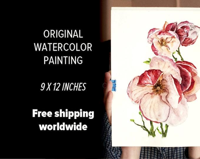 Magnolia Watercolor ORIGINAL Artwork, Magnolia Painting, Pink Watercolor Magnolia Wall Art, Pink Flowers Painting Magnolia Art