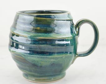 Handmade Blue Lagoon Pottery Mug - Dishwasher & Microwave Safe - Made in North Carolina by Jake Ford Ceramics