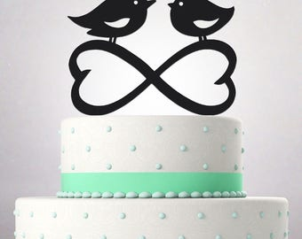 Wedding Cake Topper Mr and Mrs funny young couple birds one love heart infinity 053